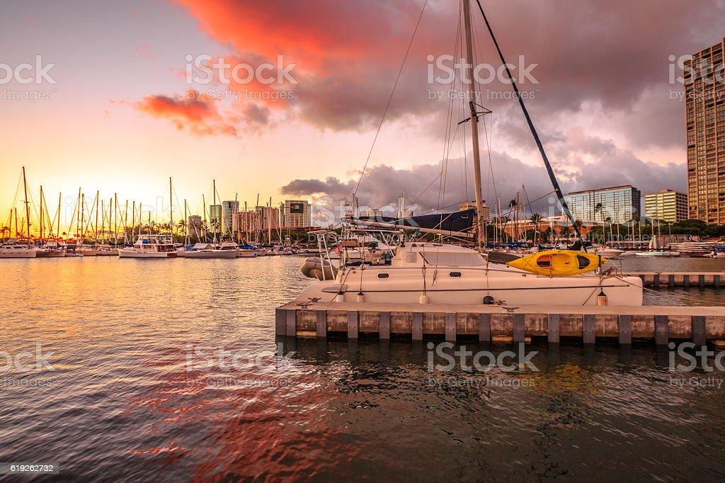 Honolulu waterfront Hawaii stock photo