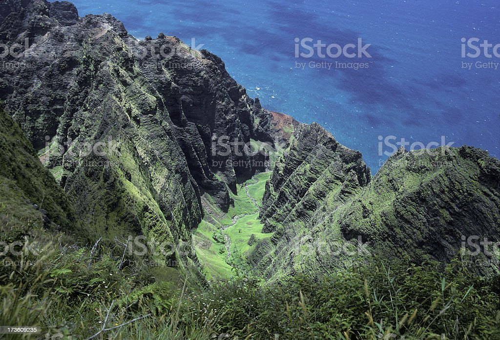 Honopu Valley on Kauai Hawaiian Islands royalty-free stock photo