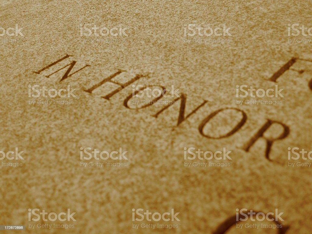 Honor - 45 angle - sepia royalty-free stock photo