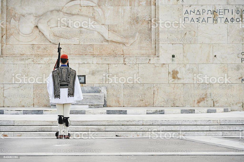 Honor Evzones guard in Syntagma Square stock photo