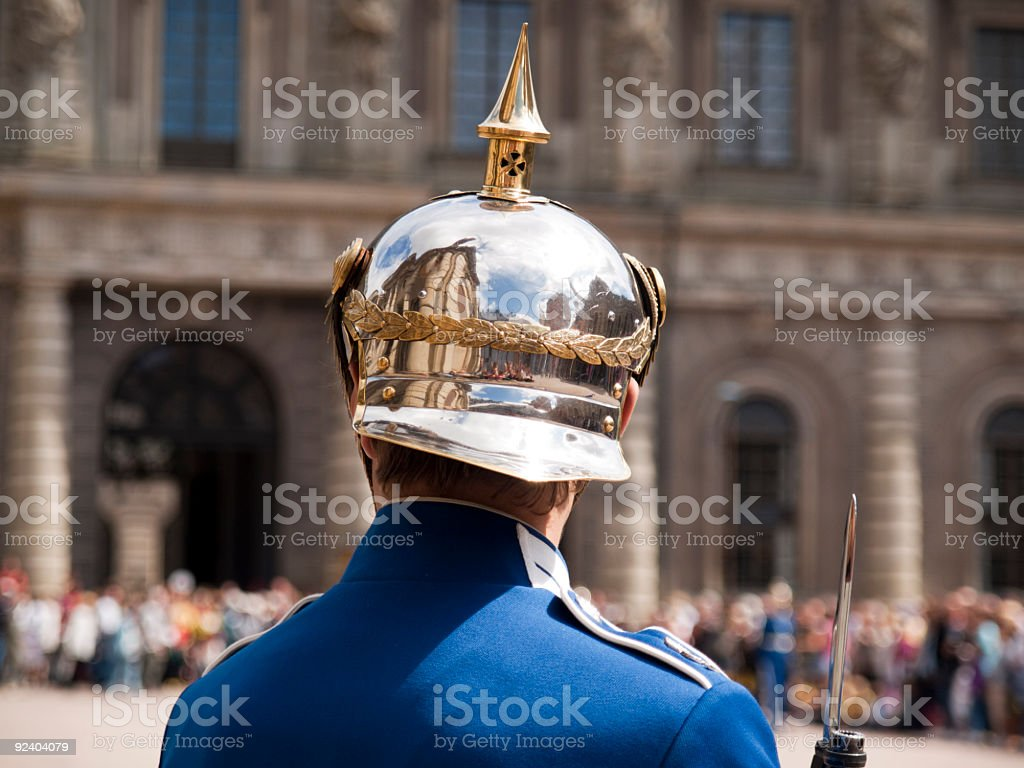 Honor guard at the Royal Palace in Stockholm, Sweden royalty-free stock photo