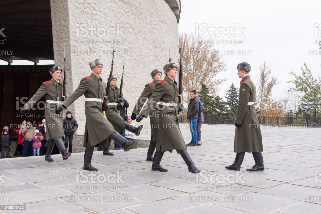 Honor Guard leaves the Hall of Military Glory in the area of grief, historical-memorial complex
