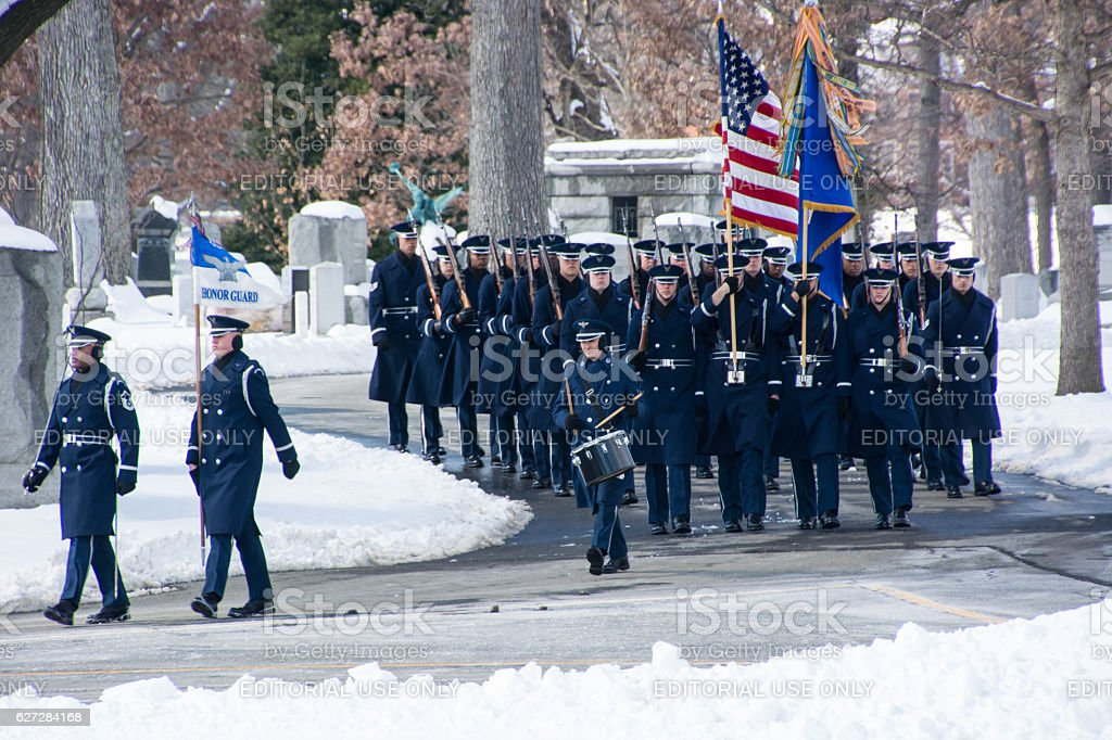Honor Guard Marches during militery Funeral At Arlington National Cemetery stock photo