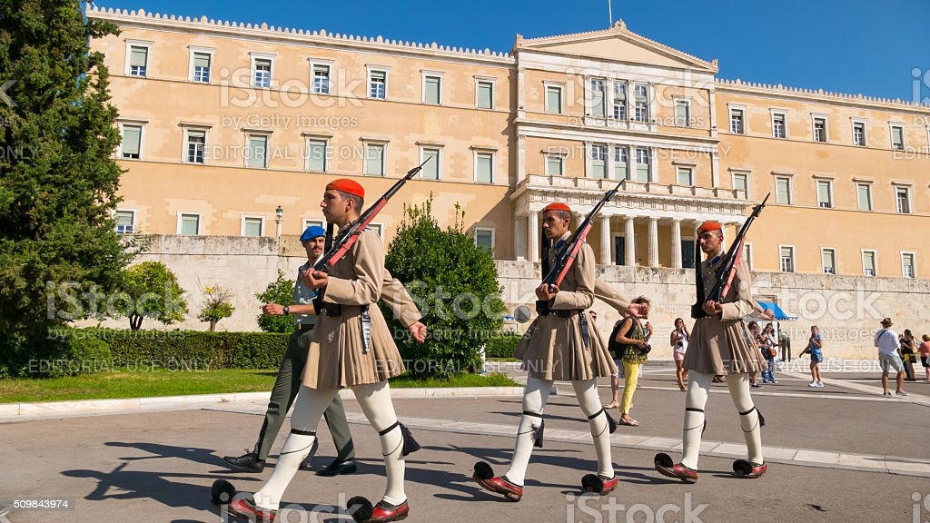 Honor guard marching at the Parliament  Athens, Greece stock photo