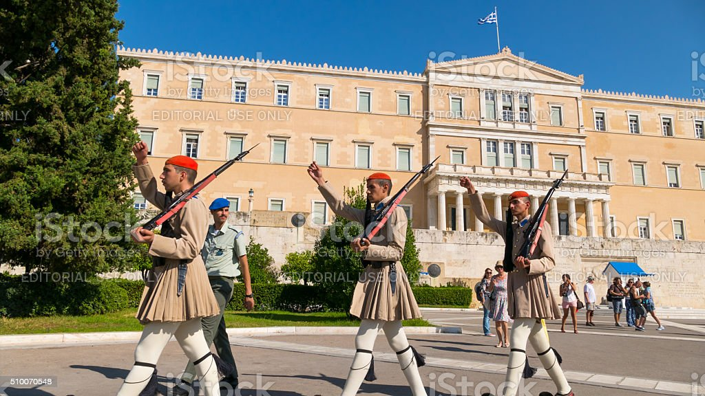 Honor guard marching in front of the Parliament  Athens, Greece stock photo