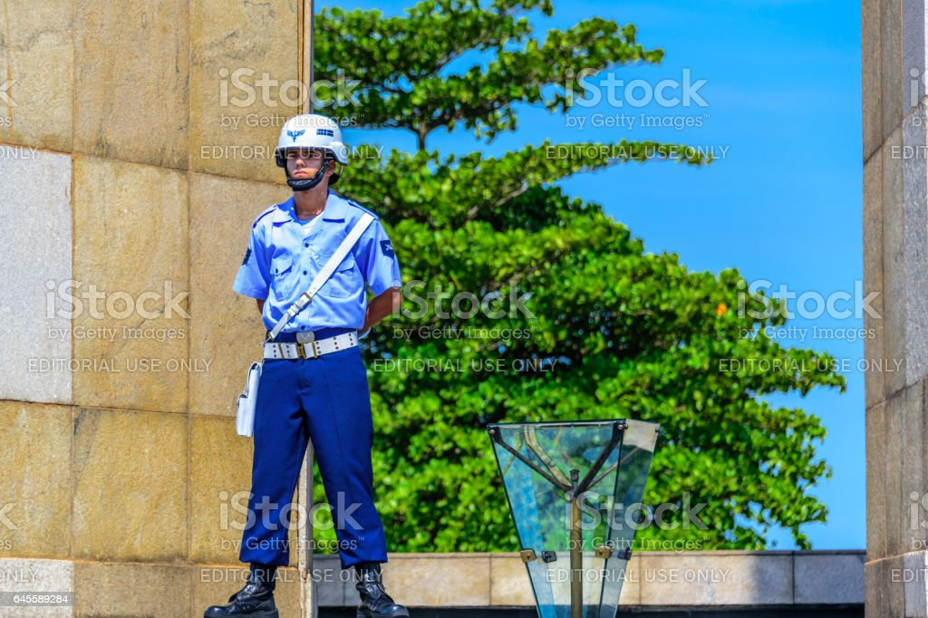 Honor guard of Brazilian Air Force guarding Eternal flame at National Monument to the Dead in World War II, Rio de Janeiro stock photo