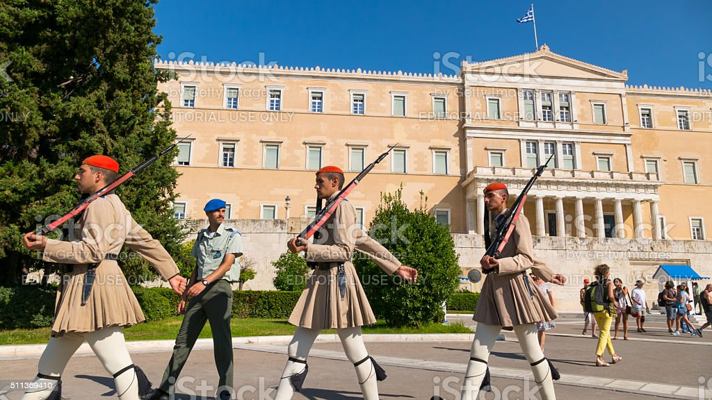 Honor guard of the Parliament in Athens, Greece stock photo