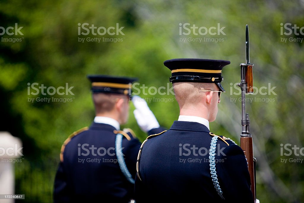 Honor guard posted at a funeral royalty-free stock photo