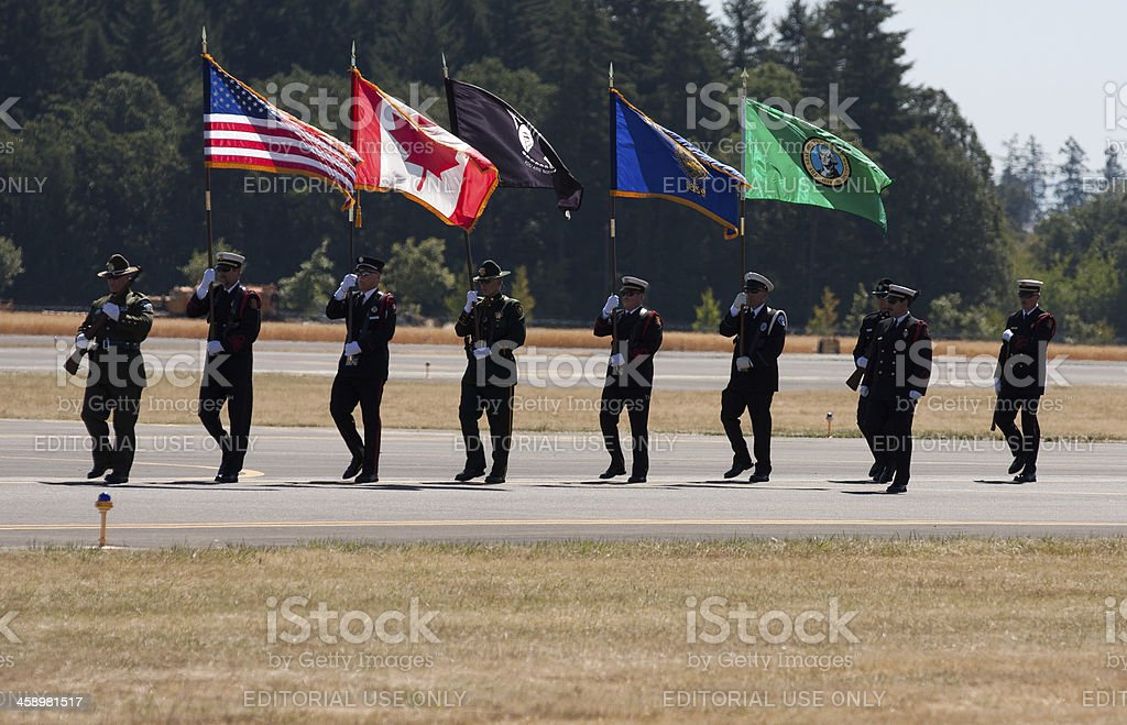 Honor Guard Presenting the Flag stock photo