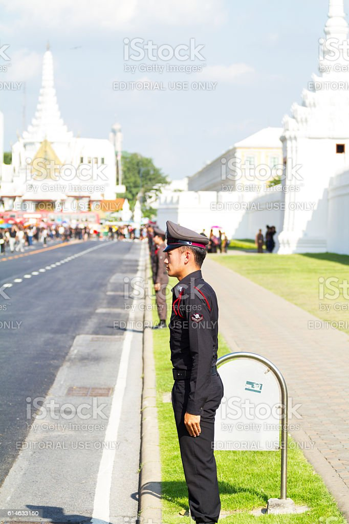 Honor guards to King Bhumipol's death stock photo