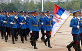 Honorary Guards units Army of Serbia marching at the plateau