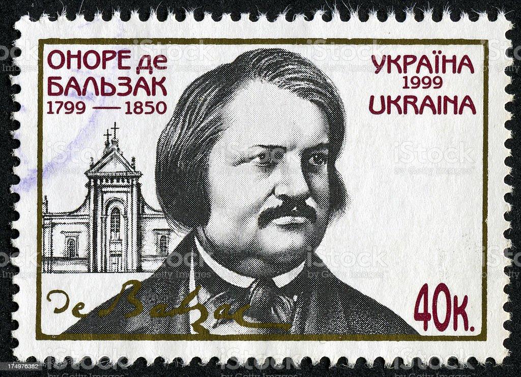 Honore de Balzac Stamp stock photo