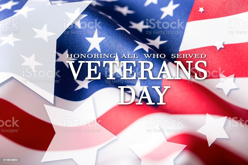 Honoring all who served. Usa flag on background. Stars stock photo