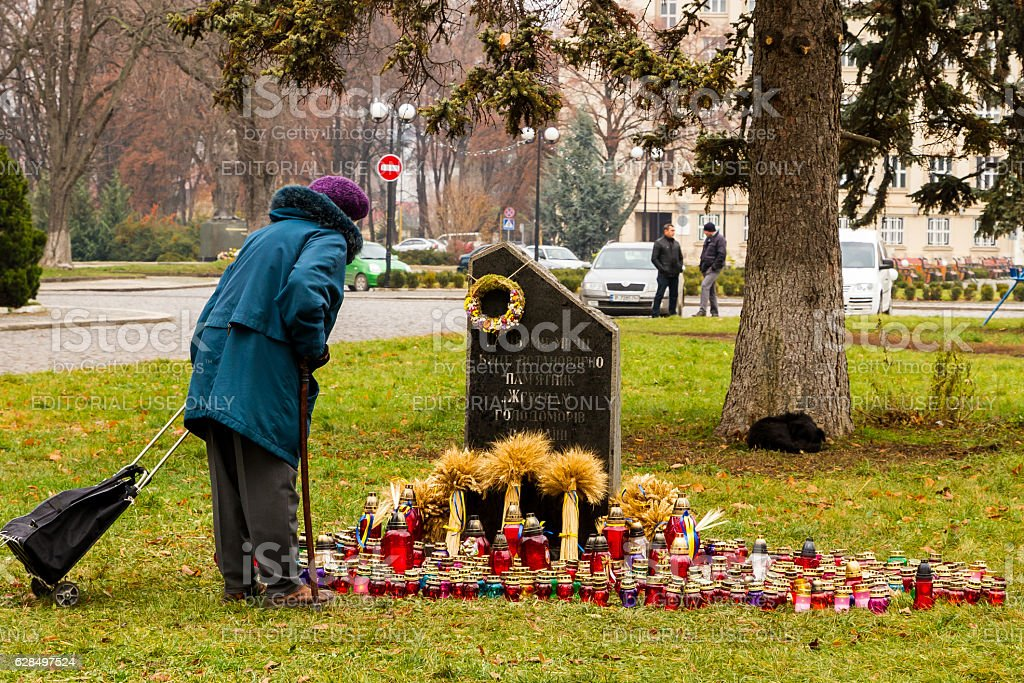 Honoring the memory of victims of Holodomor in Uzhgorod stock photo