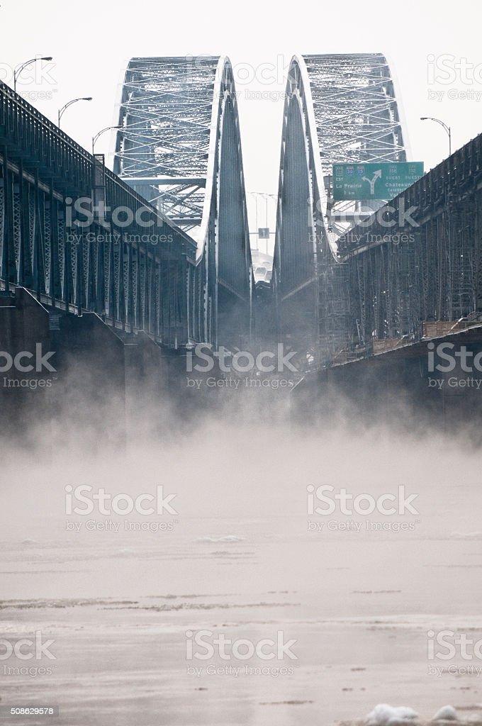 Honoré-Mercier bridge over St-Lawrence river in LaSalle in the winter stock photo