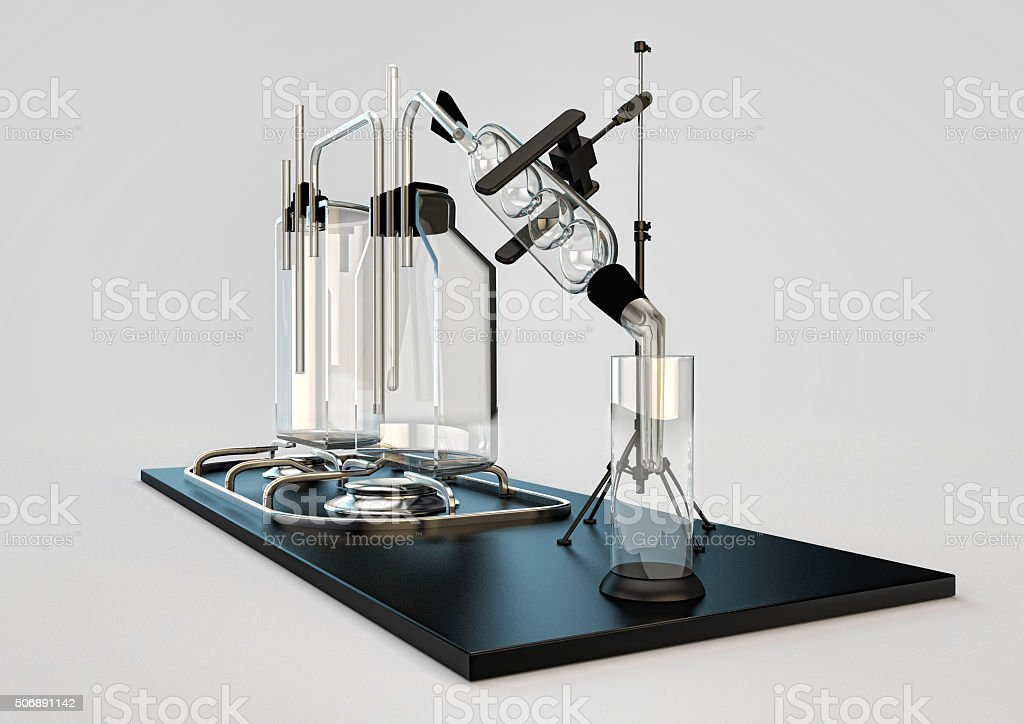hooch still. device for cooking alcohol. stock photo