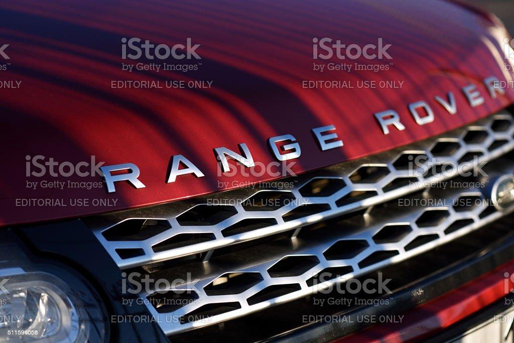 Hood of the Range Rover car stock photo