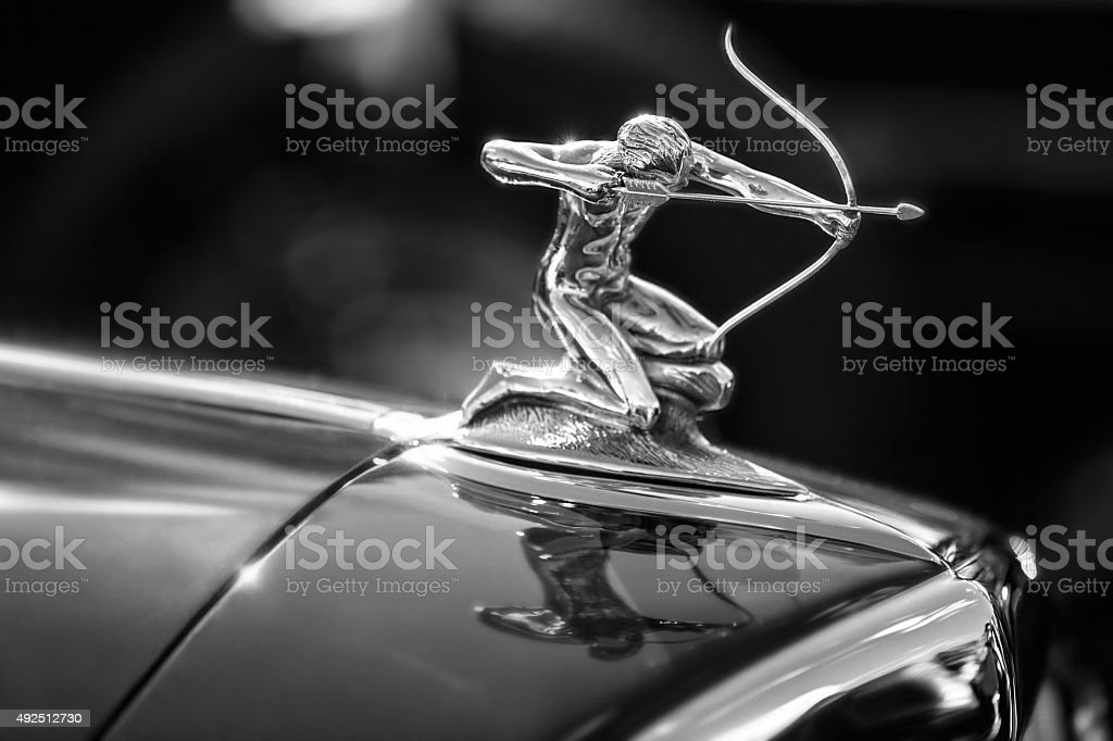 Hood Ornament on 1936 Pierce Arrow stock photo