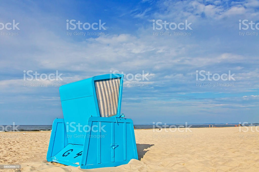 Hooded beach chairs (strandkorb) at the Baltic seacoast stock photo