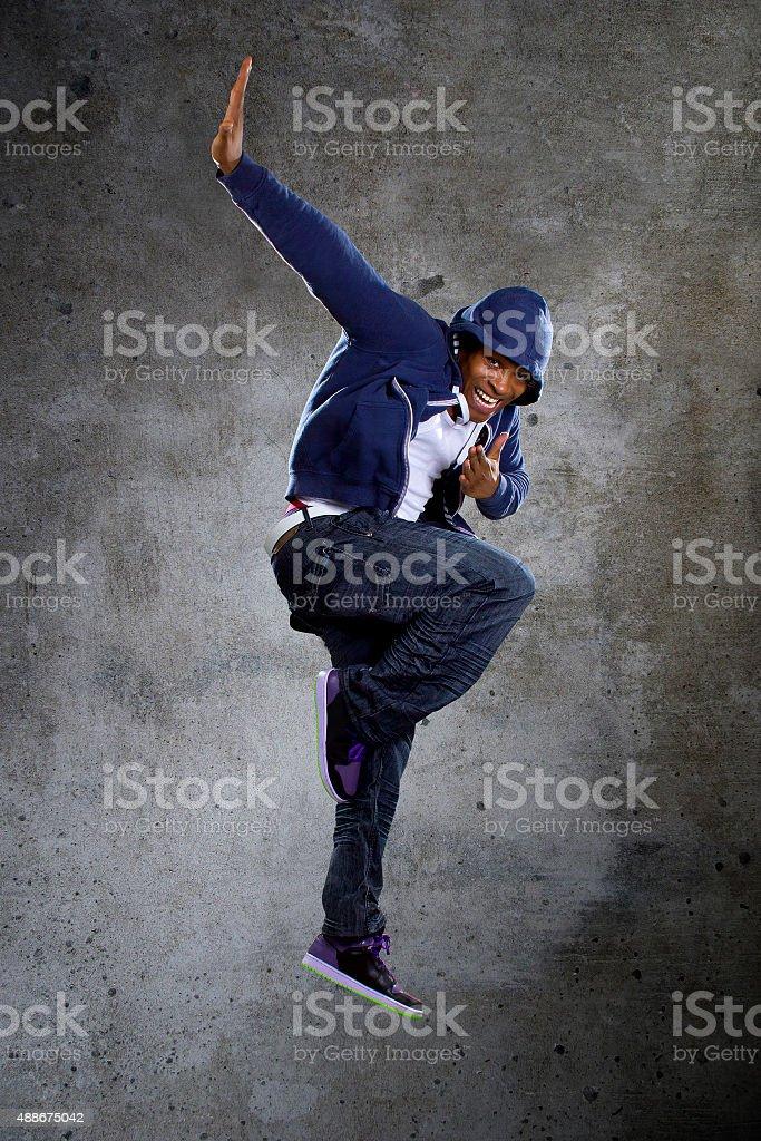 Hooded Break Dancer Jumping stock photo