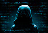 hooded computer hacker in the shadow with binary codes