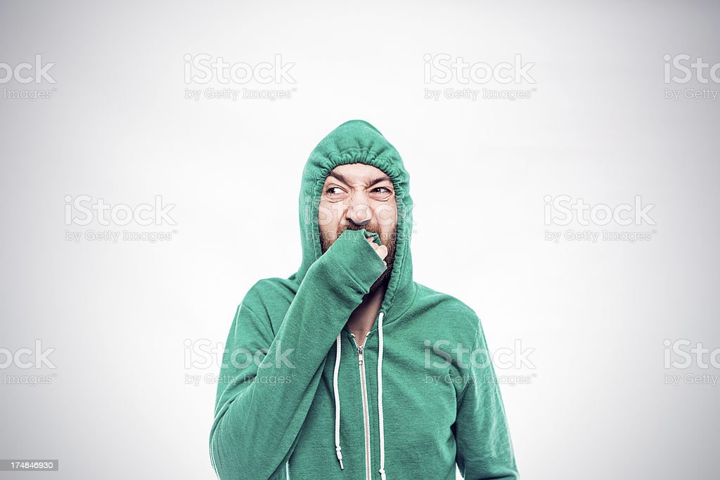 Hooded Gross Out royalty-free stock photo
