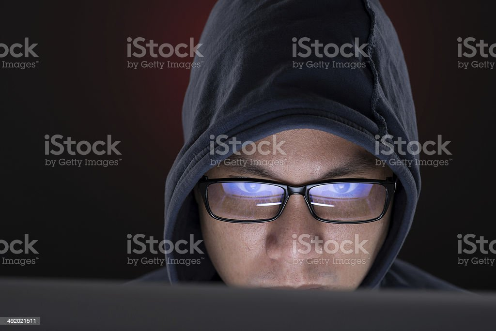 Hooded man stock photo