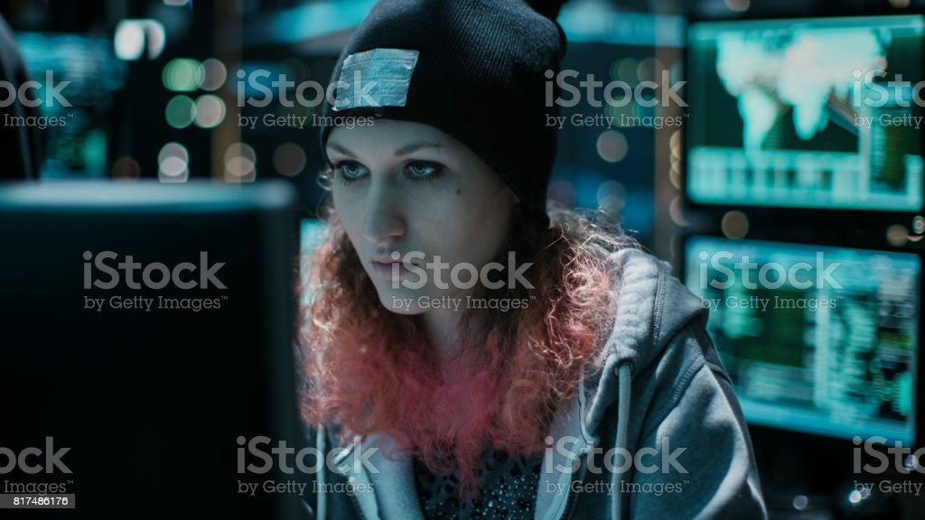 Hooded Teenage Hacker Girl Successfully Attacks Global Infrastructure...