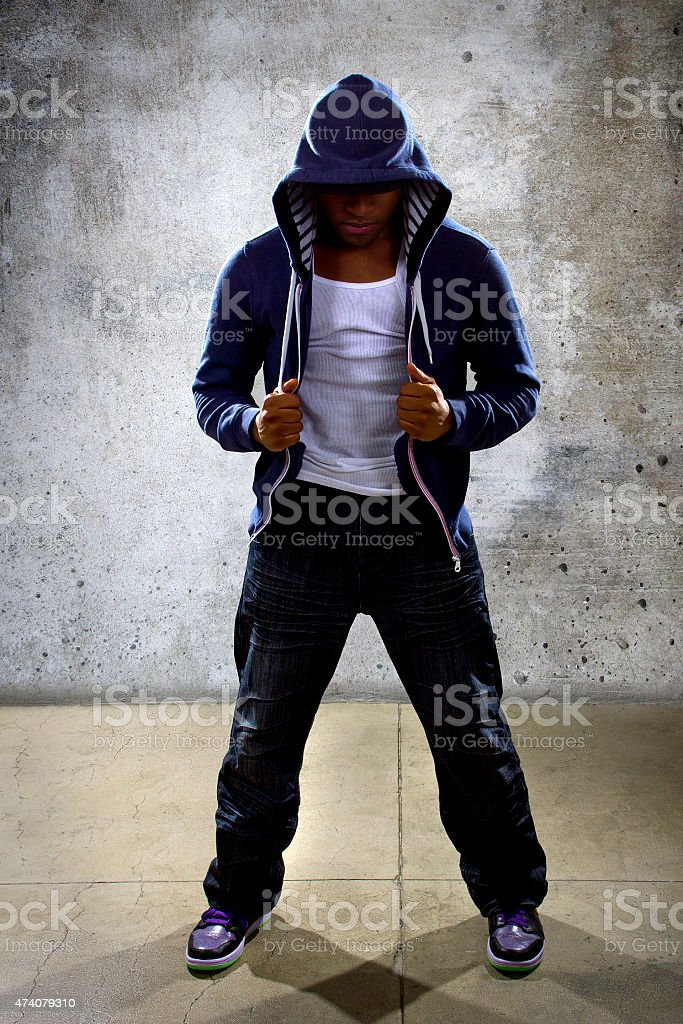 Hooded Urban Dancer stock photo