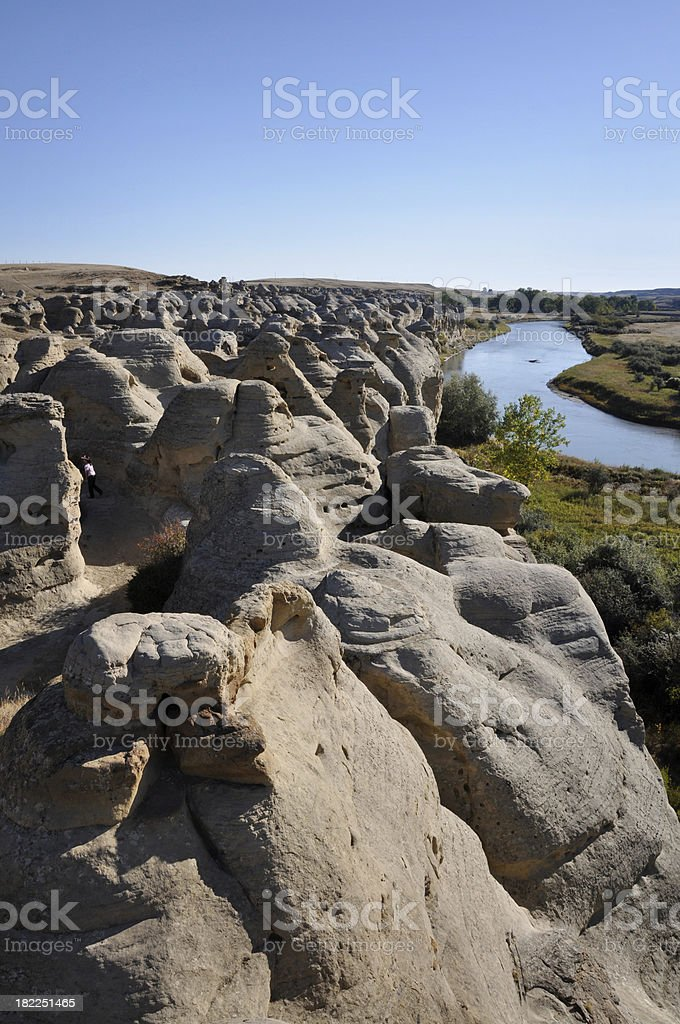 hoodoos and river stock photo