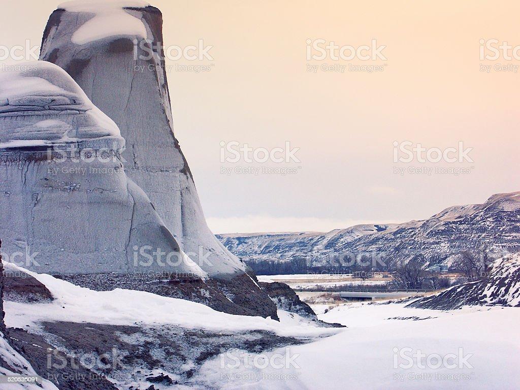 Hoodoos in winter , Drumheller Valley,Alberta stock photo