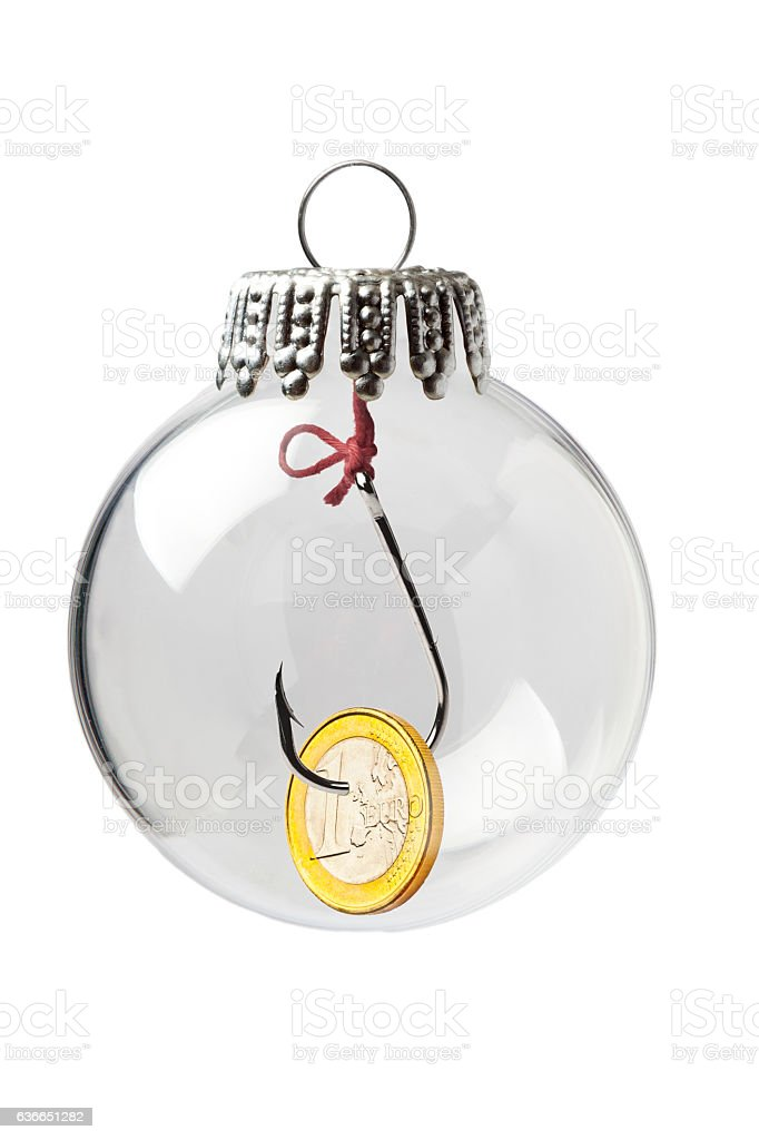 Hook and a 1 Euro in a Christmas Ornament stock photo