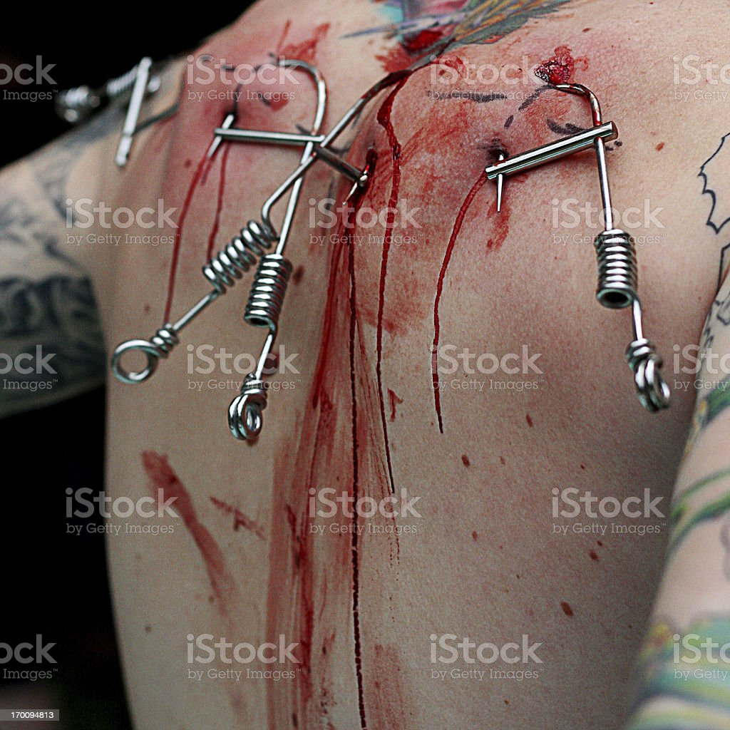 Hook and blood stock photo