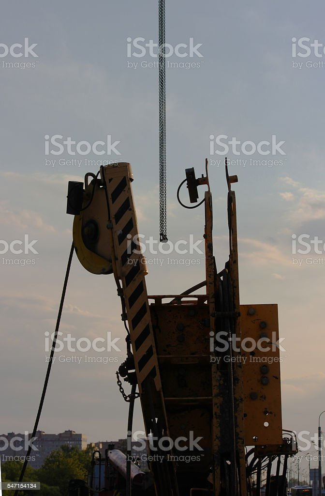 hook and boom lifting machinery  construction stock photo
