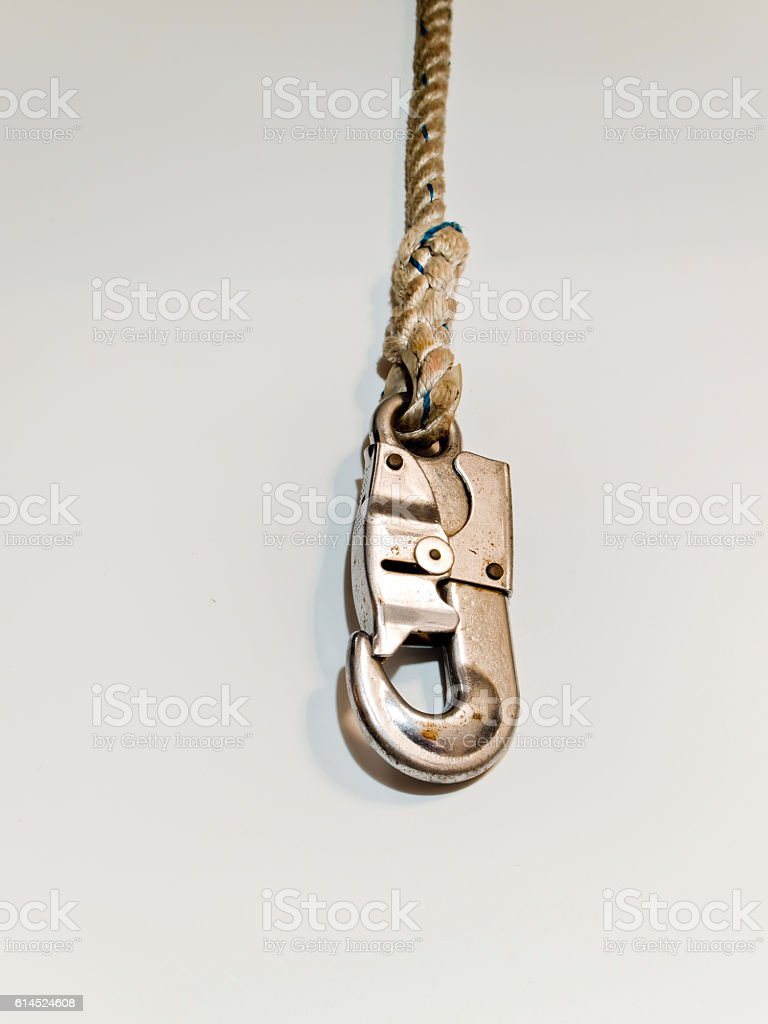 Hook and rope of belt Safety Equipment stock photo