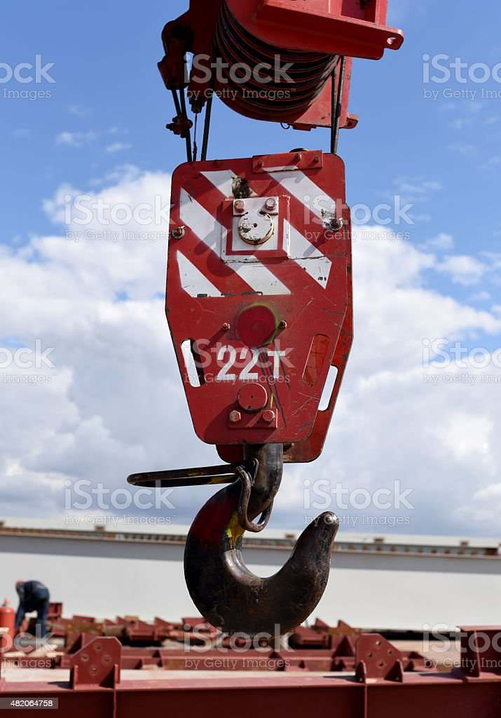 Hook of a crane stock photo
