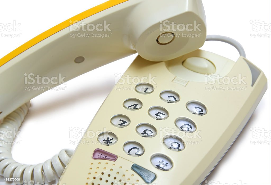 Hook off push-button telephone stock photo