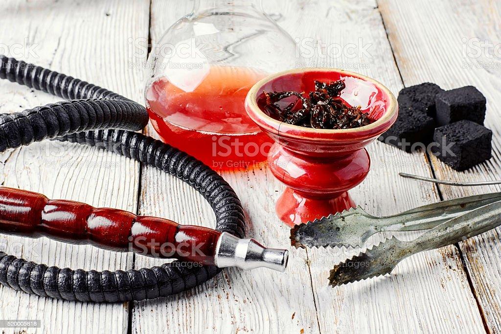 Hookah and wine stock photo