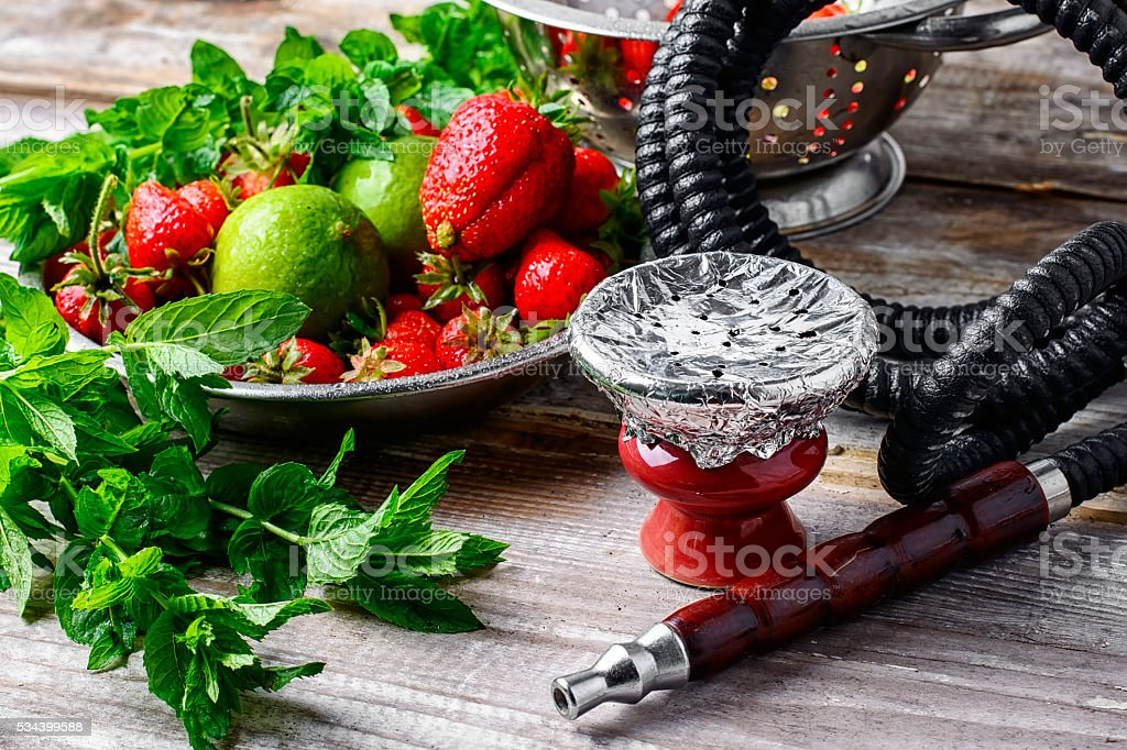 Hookah bowl with tobacco stock photo