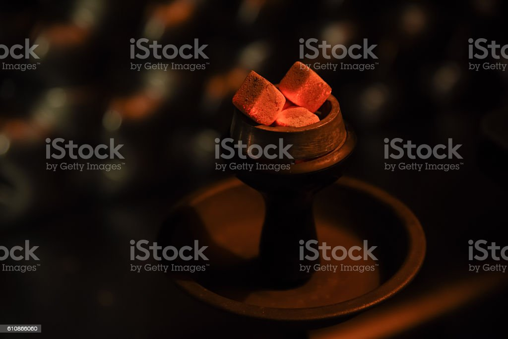 hookah hot coals for smoking stock photo