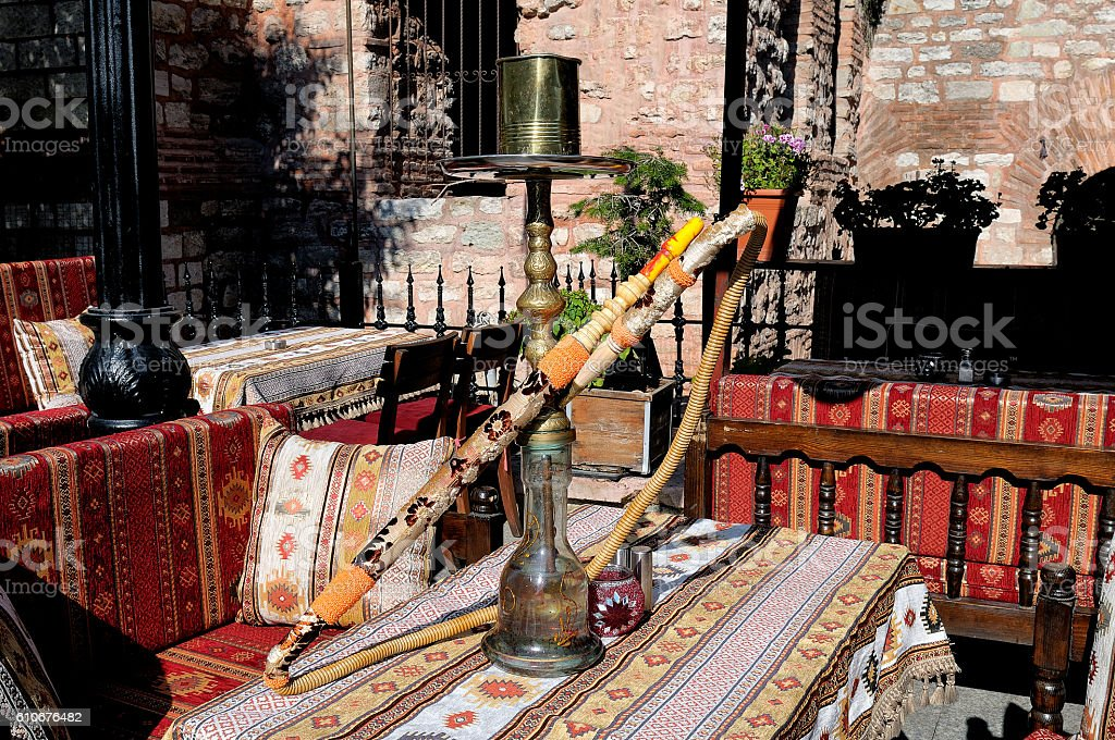 Hookah on the table at an outdoor cafe stock photo