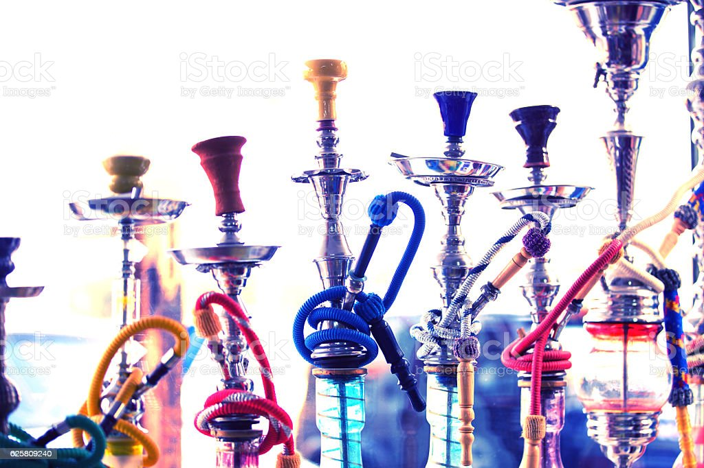 Hookah water pipes stock photo