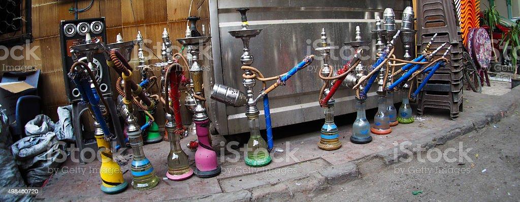 hookahs in street in Cairo, Egypt stock photo