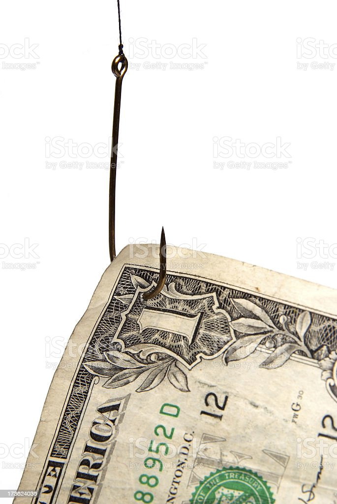 Hooked on cash royalty-free stock photo