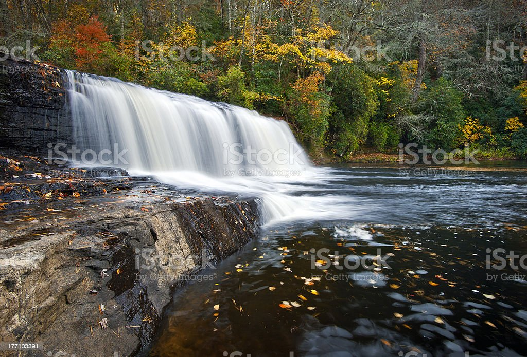 Hooker Falls Autumn Waterfalls DuPont State Park Forest Fall Foliage stock photo