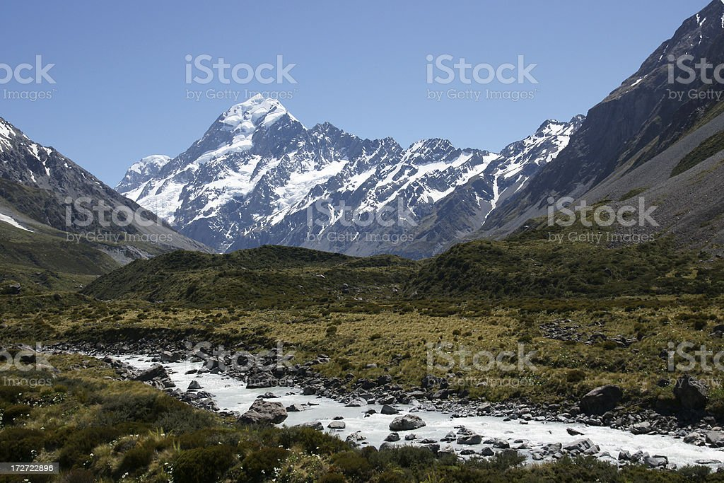 Hooker Valley in Mount cook National Park stock photo