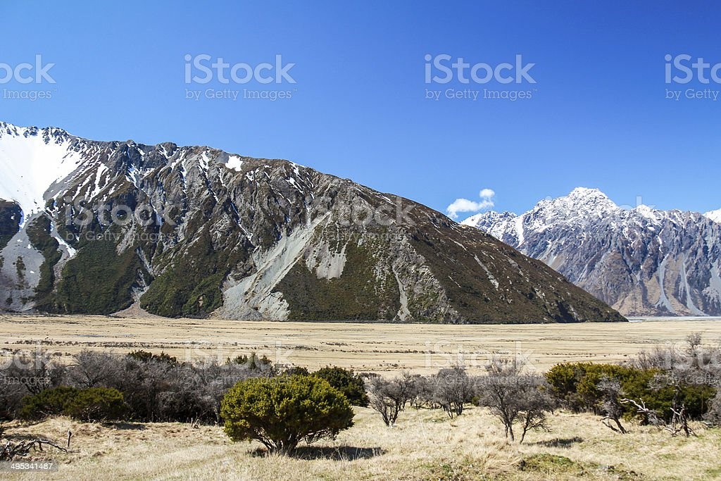 Hooker Valley, Mount Cook, New Zealand stock photo