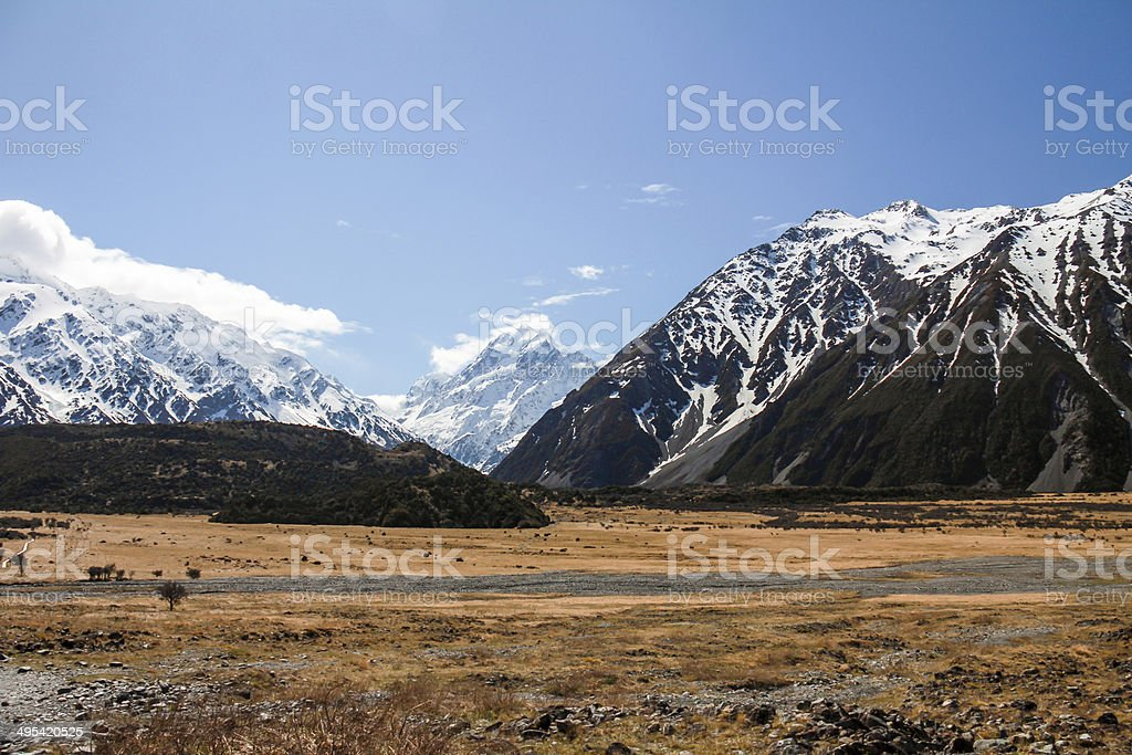 Hooker Valley, Mount Cook New Zealand stock photo