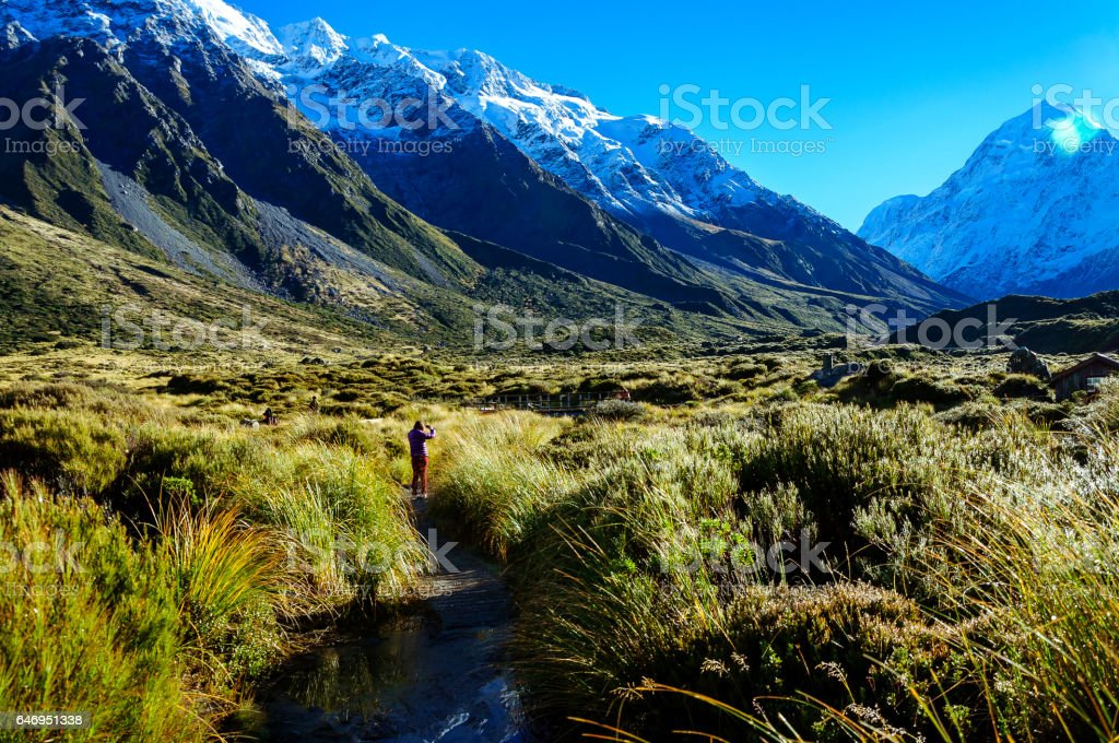 Hooker Valley Track,Mount Cook, New Zealand. stock photo