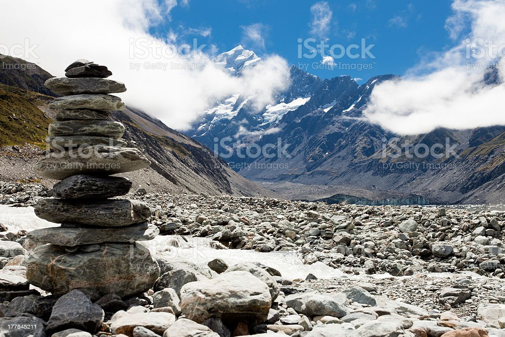 Hooker Valley w Aoraki, Mt Cook, Southern Alps, NZ stock photo